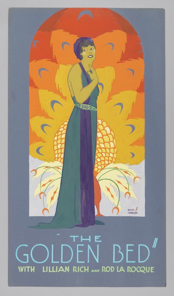 """The poster depicts a young woman, wearing a long blue dress, standing against a peacock backdrop. Text in light blue gouache, lower margin: """"THE / GOLDEN BED"""" / [in light green gouache] WITH LILLIAN RICH AND ROD LA ROCQUE"""