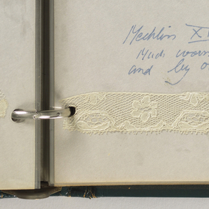 Leather-bound, ringed notebook with thirty pages filled with forty seven swatches of needle and bobbin lace. Covers the history and development of lace making from the 16th to the 20th century and includes lace from Italy, Belgium, France, Spain, England, and Greece.