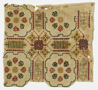 Fragment with an allover pattern of lobed squares containing small shield-like motifs and stars. Between squares are cartouches with Kufic inscriptions. Embroidery is predominantly red, dark yellow and black.