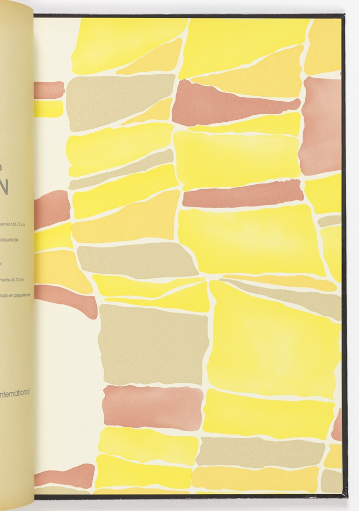Ten different patterns in wallcoverings and correlated fabrics. The book contains ten different patterns, each shown in five colorways along with a single fabric swatch for each design. The designs include Sanscrit, Persian Feather, Moon Tracks, Coptic Columns, Amish Garden, Emerald Swirl, Inca Palette, Rose of the Wind, Shoji Grid, and Porphyry.