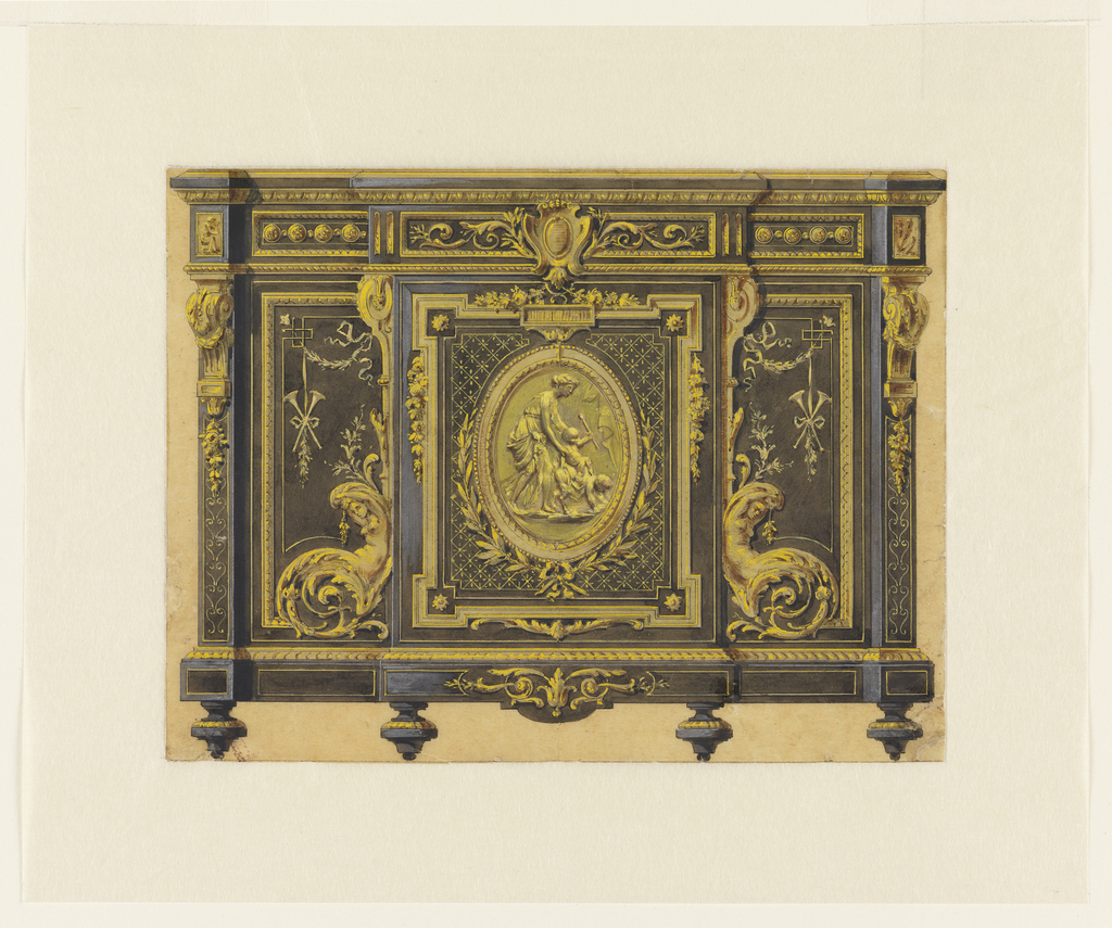 This drawing depicts a cabinet in the Louis XVI style ornately decorated with gilt-bronze mounts. The center panel consists of an oval medallion featuring a relief of the young Bacchus holding a thyrsus; he is supported by a standing Maenad (Bacchante) while he rides astride the back of a young satyr. Garlands, laurel leaves, herms, brackets and cartouches symmetrically decorate the cabinet.