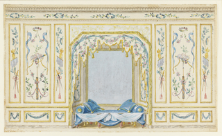 Elevation of a section of a painted wall showing an alcove at center hung with tasseled draperies above a day bed with blue pillows. Predominate color scheme is white, blue and gold. Trophies on side walls include quivers, arrows, swords, ribbons and doves, possibly indicating a theme of love.