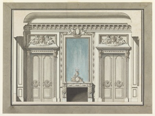"A mantelpiece is flanked by two closed folding doors.  A combination time piece and candle bracket stands on the mantel.  A girl and a child are seated beside the dial.  Written with ink, bottom framing: ""GLT"" at left. ""Sallon"" center; ""Compose et dessine par Gustave Taraval architecte/ Inspecteur des Batimens du Roy."""