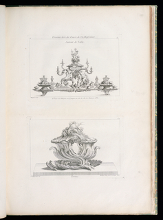 Elaborate table centerpiece consisting of central covered urn decorated with two putti, center shell, four candle arms, and two male/animal figures. The plateau shows a symmetrical arrangement of bowls of fruits, cruets, covered dishes interspersed with flowers.