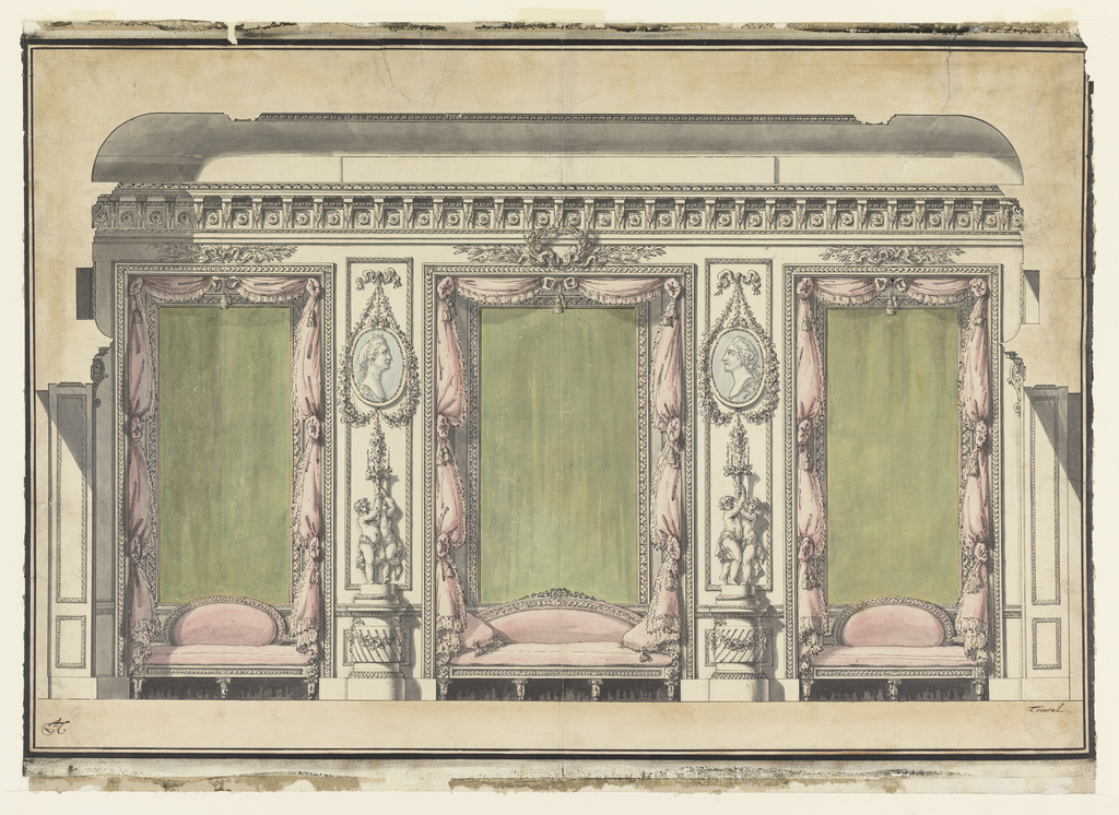 Sheet depicts a wall with three shallow niches. The middle niche is larger than the side niches.  In each niche, a pink sofa is placed under/against a framed green panel with tied-back pink curtain on either side.  In front of the pilasters separating the niches, stand statues of pairs of putti holding a candle, elevated on round bases.  Above, on the pilasters, portrait medallions are suspended.