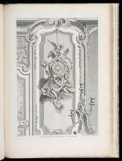 Print, Projet d'une grande Pendule placée sur un paneau (Design for a Pendulum Clock Placed on a Panel), plate 97, in Oeuvres de Juste-Aurèle Meissonnier (Works by Juste-Aurèle Meissonnier)