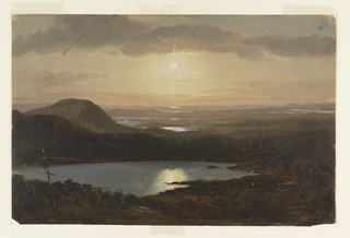 Horizontal distant view over lakes and hills with a sun shining in a cloudy sky and reflecting in lakes beneath.