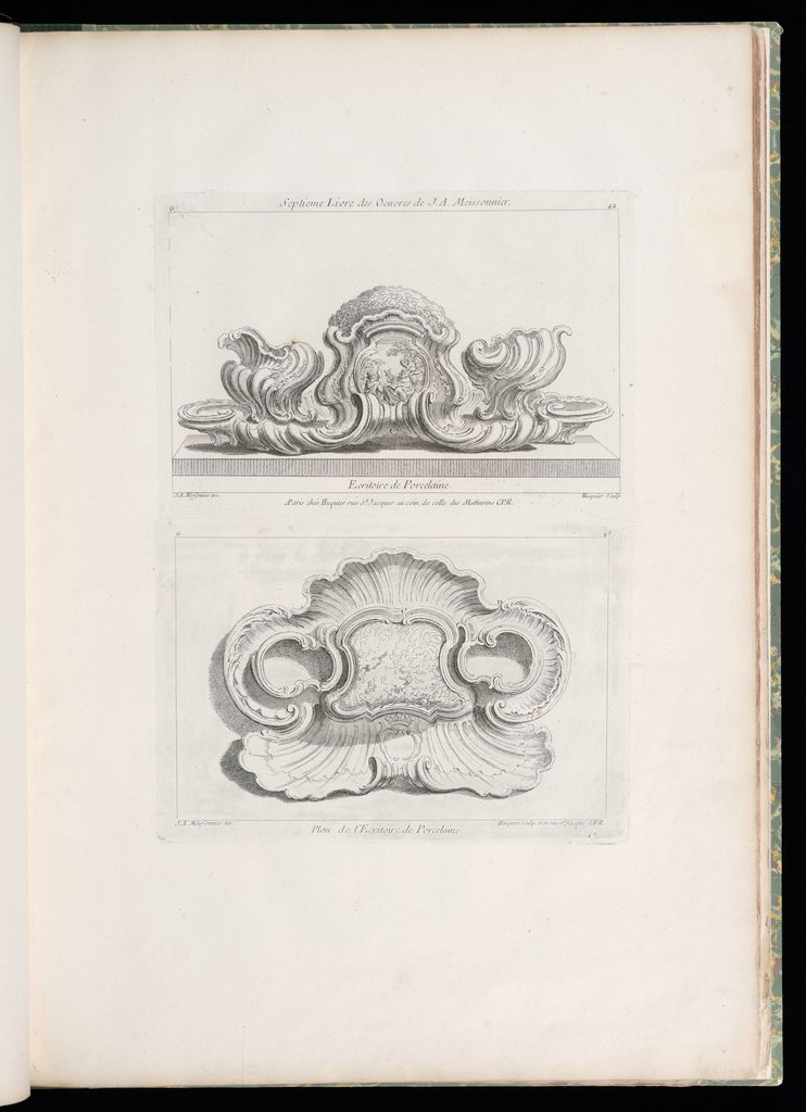 Design for a writing set with a central cartouche showing Apollo (at left) holding a bottle and a muse (at right). The scene is framed with foliage, a large bush-like arrangement above surmounted by a count's crest. Central cartouche is framed by asymmetrical wells on either side.