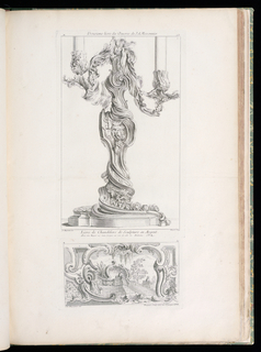 Design composed of a frame of volutes in which steps lead up to a terrace that is guarded by two sphinxes. A large shell motif is flanked by leaves (left) and a tree (right).