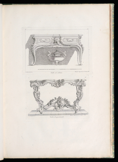Study table showing two drawers with bearded grotesque mask at center, lock below. Cabriole legs decorated with cascade of acanthus leaves. Underneath table, a covered three-legged censor jar with dragon handles.