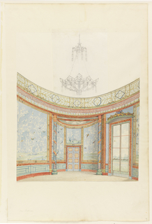 (a): Design of a section of south end of the circular room, showing the coved semicircular recess with doors. Window at right. The walls are hung with large panels of Chinese wallpaper of flowers and collaged birds, the base and mouldings are painted, as well as the columns at the entrance to the recess.  (b): Rendering of the Salon as it looked in 1802, with the hand-painted Chinese wallpaper and painted strip still in place as well as the painted fretwork on the ceiling, but without draperies at the windows.   A design for a new chandelier in the Chinese style is sketched in with pencil.  Original album associated with this collection still exists.  See 1948-40-1 accessory.