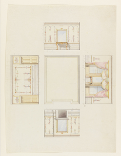 Drawing, Design for Ceiling and Four Walls of Room