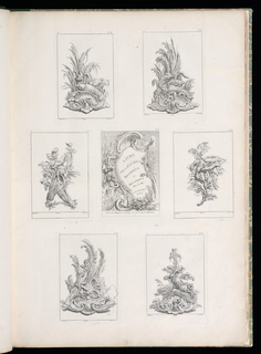 Cartouche framed with leaves and vegetables and title in the middle.