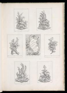 Six plates depicting different vegetables. At center, a cartouche containing text: LIVRE / DE LEGUMES / Inventees / et Dessinees / Par J. Mr. / Avec Privilege / du Roy.