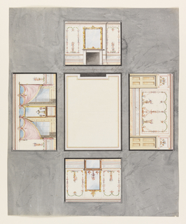 Against a gray background, ceiling at center. Upper wall has center fireplace with mirror above. Right wall has decorated panel, doors to left and right. Lower wall has console center with vases on it, mirror above. Left wall has console center, lamp and vases on it, curtained windows either side.