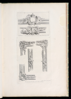 Four separate elevations of frame:  upper and lower corners and two vertical sections, elaborately decorated with shell-shaped cartouches, leaves, and a hunting horn. Two vertical elements decorated with hunting motifs.