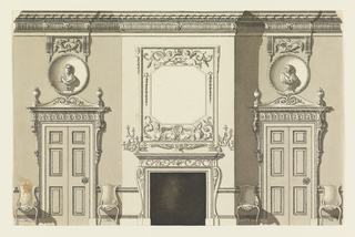 Horizontal rectangle. Side wall with fireplace center, doors flanked with chairs to left and right, a sculptured bust above each door.