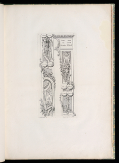 Only state. Plate showing two elongated border designs consisting of cartouches decorated with garlands, and pairs of ovals with dates of the history of the world and the years before the birth of Christ. Left cartouche: vertical arrangement of vase, garlands, acanthus leaves, two female figures and one child figure; inscribed in ovals, upper left: 2800; upper right: 1204; lower left: 2000; lower right: 1104. Right cartouche: cornice at top, below inscribed in a square, left: Ans/du/Monde; right: Ans/avant/J. Christ; below inscriptions, shell motif, vase, garlands; six ovals below with inscriptions, upper left: 2600; upper right: 4400; central left: 2700; central right: 1300; lower left: 2800; lower right: 1204.
