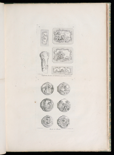 Six etchings for watch cases showing architectural elements, fountains, mythological figures, putti, flowers and foliage.