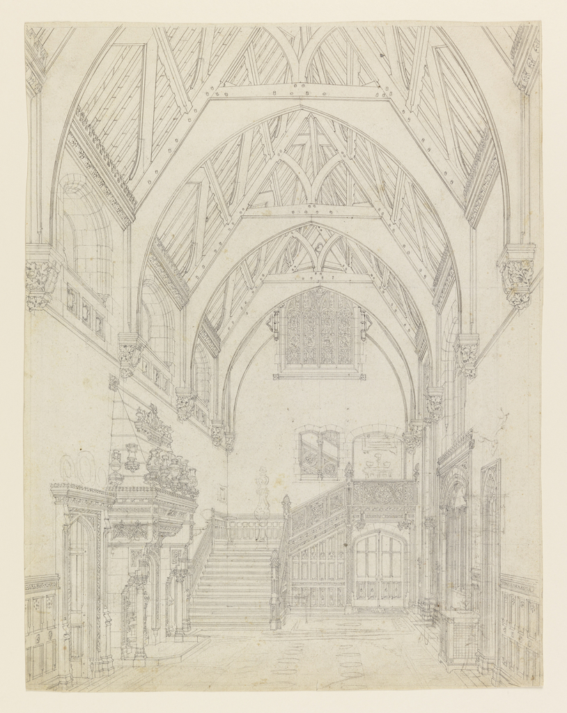 A perspective view of a large entrance hall, looking toward the staircase. A high ceiling, covered by a timber roof of the collar-braced type, in the English Gothic style. Left, elaborate mantelpiece and doorway on wall. Right, doorway and window on wall.