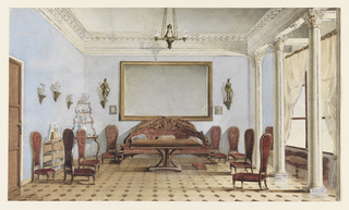 This is an interior view of a salon with a high ceiling, a doorway on the left and a three-columned alcove at right with a curtained window behind. A large carved settee is placed against the back wall beneath a mirror, extending the full length of the settee, and flanked by military figures on wall brackets; in front of the settee is a table.  A corner etagere in the left rear displays glass and silver objects. A series of low side chairs with high backs are arranged at left and right. The walls are painted sky blue and the floor is of diamond-patterned marble.
