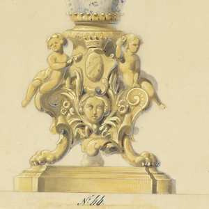 This drawing depicts a candelabrum and gas lamp consisting of a tall-necked porcelain vase in a floral design. The vase is mounted on a gilt-bronze tri-footed base, with putti flanking a coat-of-arms surmounting a female mask. Twenty candle arms encircle the gas lamp.