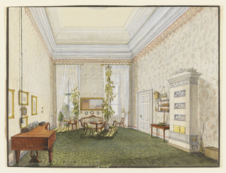 This watercolor likely documents a room in an upper-middle-class townhouse from the German town of Coblenz (today Koblenz). The furnishings in the drawing appear to date from the 1840s. The sofa follows the Rococo Revival style popular around this time; the round table, klismos-type chairs (created by the ancient Greeks, with splayed legs and curved backrest and rails), and side chair are typical late Biedermeier pieces, while the white ceramic stove features bands of decorated tiles with Schinkel-style classical motifs. Gray flat-patterned wallpaper with contrasting red Gothic pelmet bands beneath the upper molding and a similar band above the baseboard covers the walls. Additionally, the floor is covered by a green carpet with octagonal motifs. A bookshelf hangs on the right-hand wall, along with a cuckoo clock. A servant's cord hangs on the left side of the room.