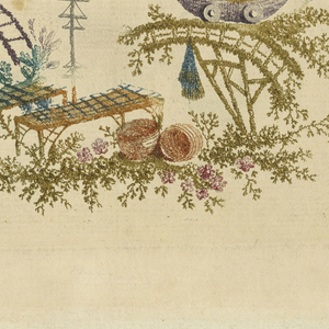 Irregular cartouche composed of trees, bridges, and fantastic foliage executed in the chinoiserie style. A small figure balances on a bell laden rope suspended between two platforms at center. A figure fishes from a bridge at lower left.