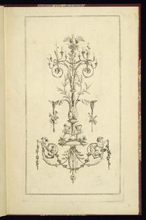 "Print, ""Design for a Wall Sconce,"" Plate 5 of IIe Cahier d'Arabesques  l'usage des artistes..., Paris: Mondhare"