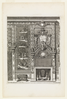 A design for a mantlepiece and wall panel by Marot. The mantlepiece is highly ornate. The wall panel pictures figures in nature scenes.