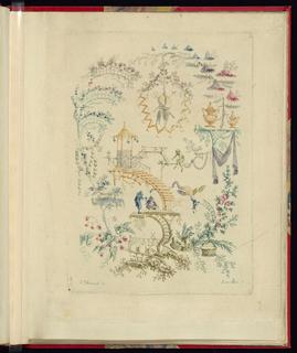 """Print, Ornamental Design from """"Nouvelle suite de cahiers chinois a l'usage des Dessinateurs et des peintres"""", No.2, Inventes et dessines par Jean Pillement. Graves par Anne Allen."""