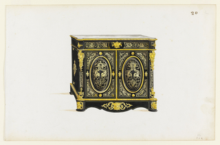 "This drawing depicts an architecturally imposing cabinet in the ""Boulle"" style, veneered in ebony and symmetrically decorated with marquetry after Berain. Oval panels dominate the cabinet doors. Masked mounts and cartouches are additional decorative elements."