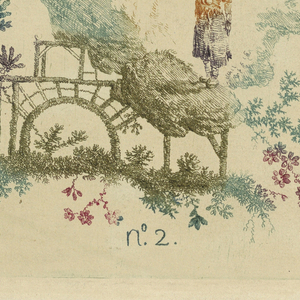 Lower center, figure in exotic landscape with open air structure.