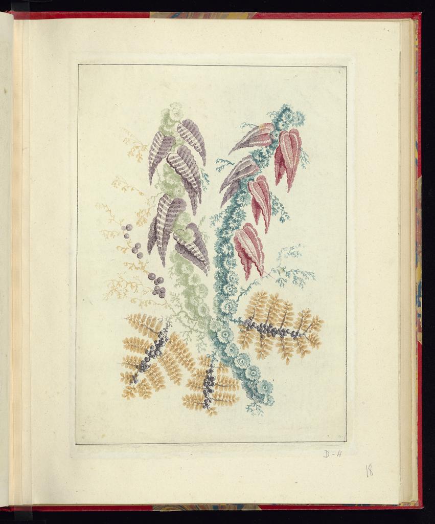 Print, Ornamental Design with Triangular Purple and Red leaves, from Nouvelle suite de cahiers de flerurs naturelle a l'usage des dessinateurs et des peintres, No.1