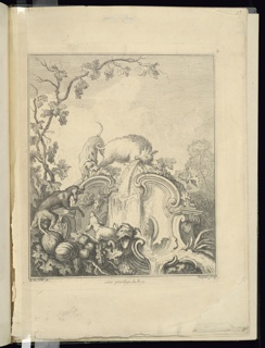 Clusters of grapes, leaves, and gourds surround a cartouche with pedestal elements on either side. A top the cartouche a dog grabs the leg of a boar that is spewing water. At bottom left are two dogs. At bottom center is a grotesque mask.