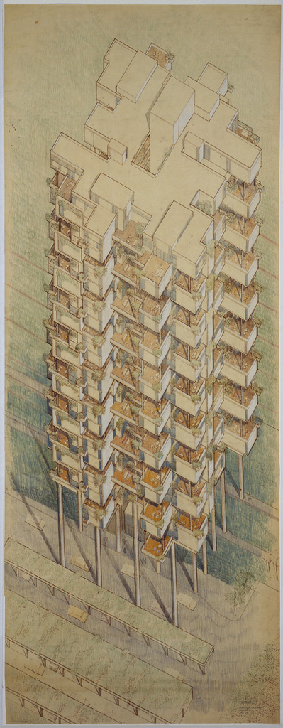 Isometric view of nine-story apartment building lifted off the ground on poles. The rooms are suspended with recessed spaces.