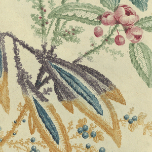 Floral motif. Upper level: small red flowers with green leaves; lower level: blue berries with yellow, green, and brown feather-like leaves.