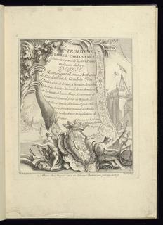 Title page cartouche in which is written: TROISIEME/LIVRE de CARTOUCHES/Inventez par J. de la Joüe Peintre/Ordinaire du Roy/DEDIE/à Monseigneur Loüis Anthoine/de Pardaillan de Gondrin Duc/d'Antin Pair de France, Chevalier des Ordres/du Roy, Lieuten.t Général de ses Armées et/de la haute et basse Alsace, Gouverneur et/Lieutenant General pour sa Majesté des/Villes et Duché d'Orleans et Païs Orle/anois, Directeur General des Batim ts/et Jardins Arts et Manufactures de/France./Par son tres huble et tres/Obeissa.t Serviteur/G. Huquier. The arms of the Duc d'Antin flanked by two Indian figures are displayed at the bottom of the cartouche. At right (middle background), the construction of a palace. At left, a wall with standing statue and steps.