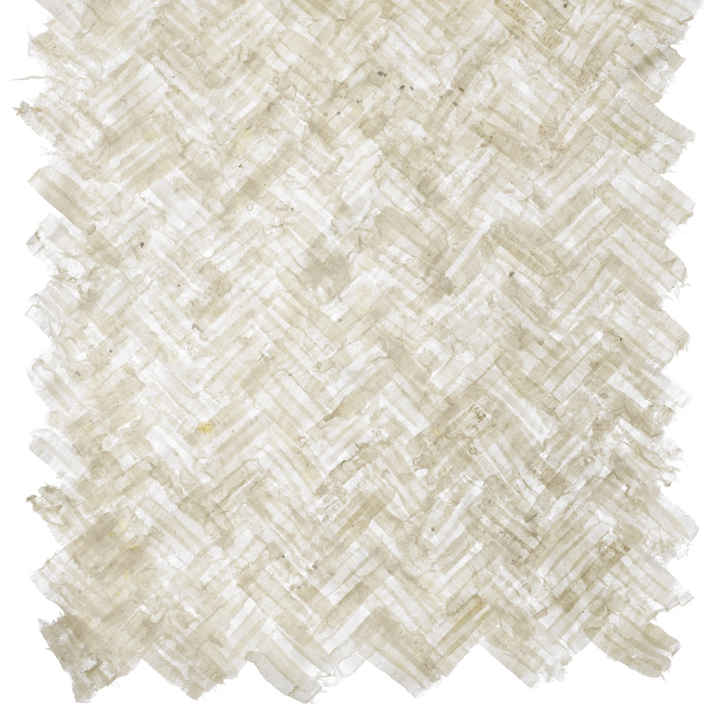 Panel of paper-like material made from peeled ogarami choshi adhered to itself in a herringbone pattern