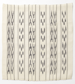 Square sample of a skirt fabric in white with black painted warp design set between vertical bands.