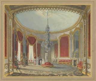 Interior of large round sitting room with large crystal chandelier, red drapes with gold trim, a fireplace with large mirror and two candelabra on mantel, two windows at left. Walls are white with painted gold ornamentation. Five figures have entered the room: tall woman (mother), flanked by her two daughters, a young man (groom), and a young woman (bride).