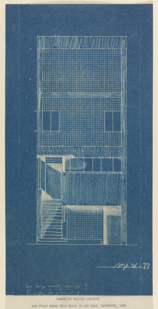 Front elevation of four-story house of William E. Lescaze.  Office with glass block on ground floor and canopied stairwell at left leading to residence above.  Second floor with horizontal row of windows.  Third floor with glass block and two casement windows.  Fourth floor all glass block.