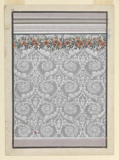 Design for a wall covering with large repeat of white garlands and scrolling floral elements on a gray ground, with a reddish-orange poppy and green leaf garland trimming the top.  At the bottom a grayish-purple stripe indicates the dado and alternating grayish-purple, olive, and white stripes at the top indicate the entablature. The entire design is bordered by a thick black line.