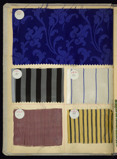 Sample book with paper leaves bound in grey cloth covers. Pasted on the paper leaves are about 400 samples of silks and cottons, in plain and patterned weaves, some with printed designs and some brocaded.