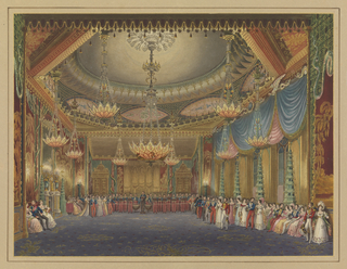 Interior of large ballroom with several pink and yellow chandeliers in shape of upturned blossoms. Drapes are blue on right; wall coverings are red with gold foliage; decorative green pagodas stand at each window on right and flank fireplace on left. Dozens of men and women are gathered seated and standing along the walls as an orchestra plays.