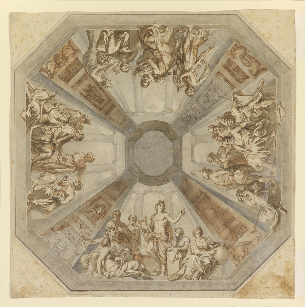 Design for a ceiling.  The octagonal design is divided into four principal panels separated by steeply foreshortened architectural pilasters.  Four groups of figures are depicted that deal with Apollo, the muses and the poets.