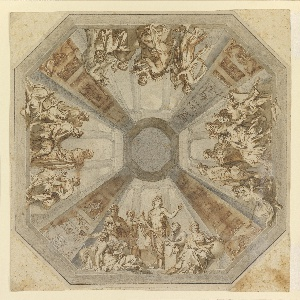 """Drawing, Study for """"The Triumph of Apollo"""" for the Ceiling of the Sala delle Muse, Museo Pio-Clementino, Vatican"""