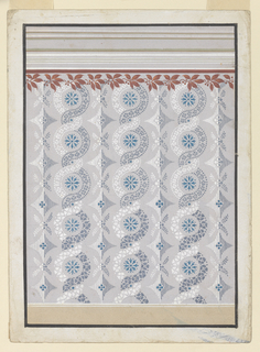 A dado is shown below, an entablature above. In the panel, alternate vertical rows, consisting of lozenge rosettes and a petal and bough motifs, and two rising, intertwined bands, which form great and small circles containing rosettes and prints, respectively. Petals form the bands below, petals framed by beads above. The left bands are colored white, the right ones dark. A garland of laurel leaves and seeds beneath a purple stripe is shown on top, with its upper part against a gray background.