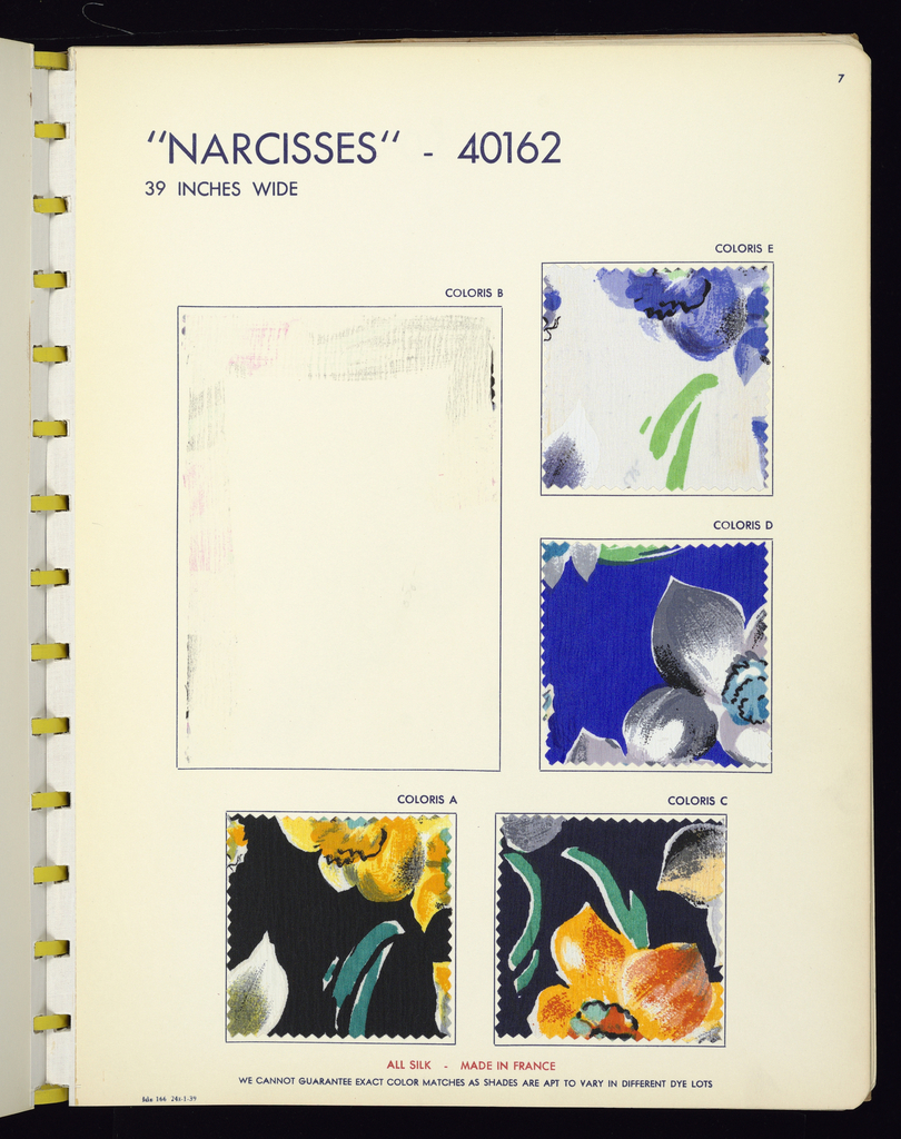 Sample book with dark blue celluloid cover, celluloid ring binding and letters on the front cover: Ducharne. Contains 206 samples. Printed samples include: 32 silk crinkle crepes, 57 flat silk crepes, 15 silk chiffons, 12 linen-finished silks, 5 rayon novelties, 3 rayon satins, and 5 shantung-finished rayons. Woven samples include: 47 silk novelties, 2 silk and rayon stripes, and 28 silk and rayon novelties.