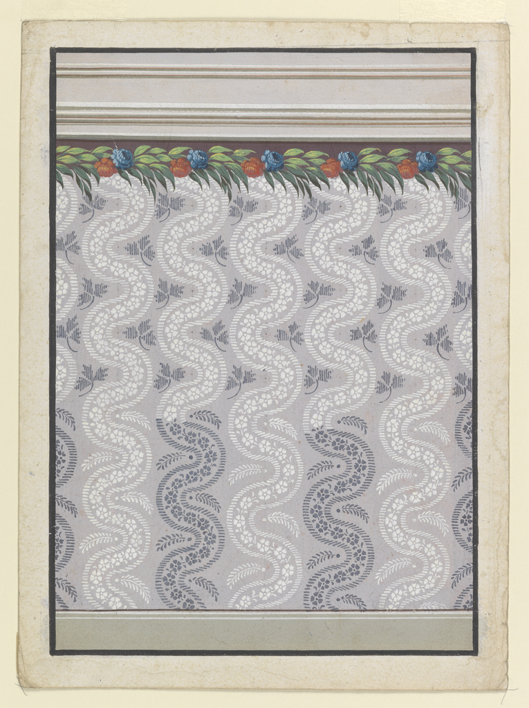 A dado is decorated with rising waved bands consisting of rows of petals which are framed by ribbons. Suggested are alternate white and dark colorings below, a white coloring above. Alternate designs for leaf boughs are suggested for the intervals between the bands. A garland of flowers and leaves is shown on top, the upper part of which has a dark purple background.